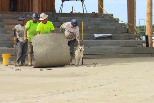 A crew stamps concrete with the help of a dog.
