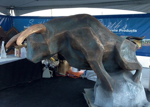 Bull sculpture at the world of concrete used Smith Paints bronzing medium.