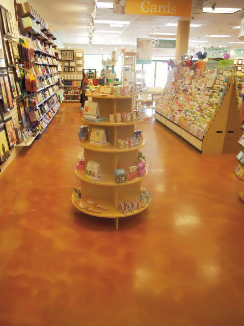Retail bookstore with an acid stained concrete floor.
