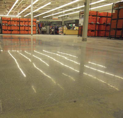 Polished concrete floor in a warehouse.