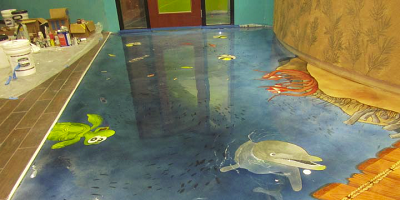Stained concrete in an underwater theme.
