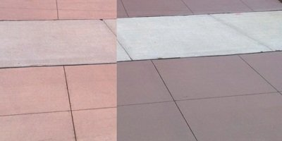 Concrete Coloring material for driveway before and after.