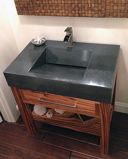 People's Choice Award Winner Zebrawood Vanity and Sink, by Andrew Seaman Concrete Mix: Cheng Countertop Pro-Formula Color: Charcoal Project Location: Maryland