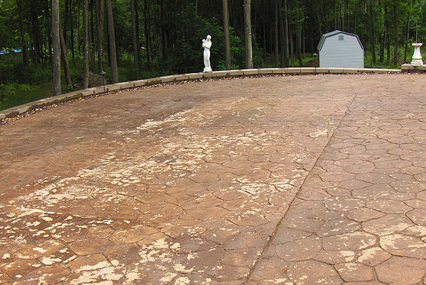 A driveway in Mountain Top, Pa., with salt damage. This property was right off an interstate and the owners tracked salt from the highway onto the drive.