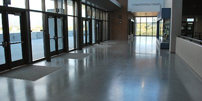 Polished concrete at high school and epic concrete polishing job.