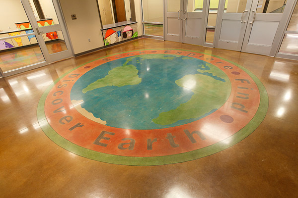 concrete floor with world map