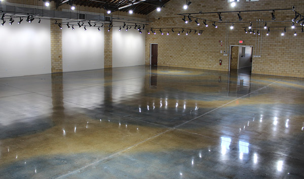 Neutral gray polished concrete floor