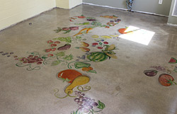 vegetables and fruit painted on kitchen floor