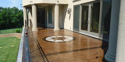 Concrete patio with stencil design