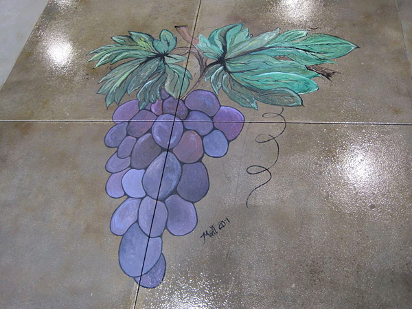 Grapes painted on concrete
