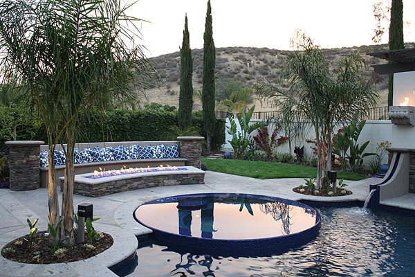 Concrete fire pit and swimming pool