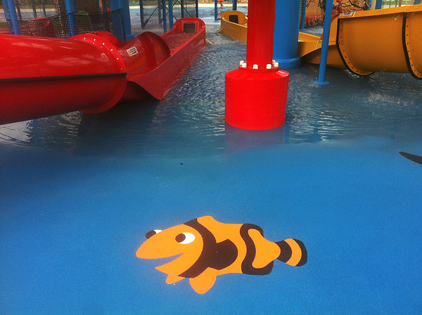 PolySoft pool surface - Made by an Australian company, PolySoft is an excellent choice for water park surfaces because the plastic product is designed to inhibit the growth of mold, resist the effects of chlorine and retain its nonslip attributes even when wet.  Photos courtesy of PolySoft