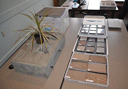At presentations, samples can be passed around a room so people can see and feel the concrete being discussed. Photo courtesy of Colorado Hardscapes Inc.