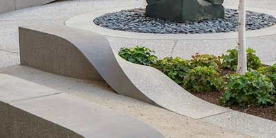 Concrete ribbons, benches made of twisted concrete