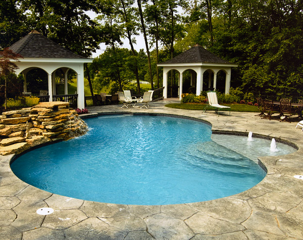 Stamped and patterned concrete pool deck.