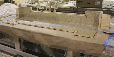 Corian concrete casting surfaces.
