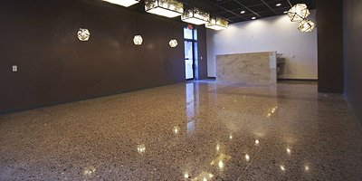 Amazing shine off of a high gloss polished concrete floor in a Japanese restaurant in Las Vegas