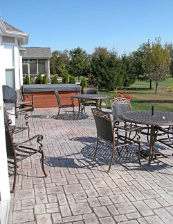 stamped concrete patio by Steve VandeWater, Concrete Decor magazine