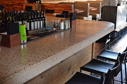 Concrete bartop in restaurant