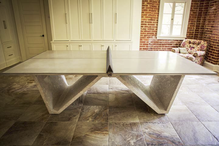 A concrete table tennis table.