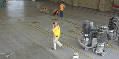 Luke Air Force Base polished concrete is underway with a significant prep job.