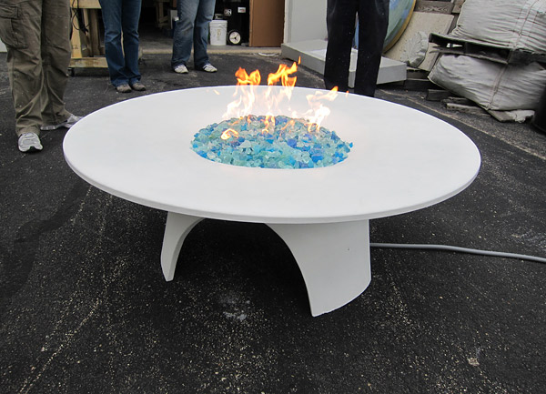 propane fire feature made of concrete
