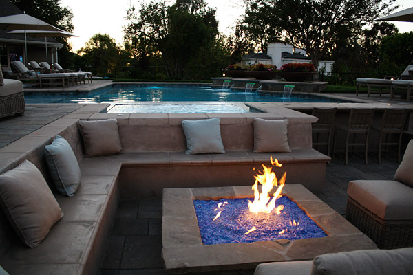 cast concrete seating around fire pit