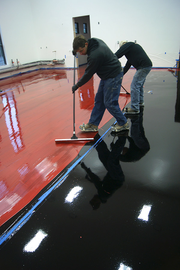 Gervasi Winery Metallic Epoxy Concrete Floor Shiny Red