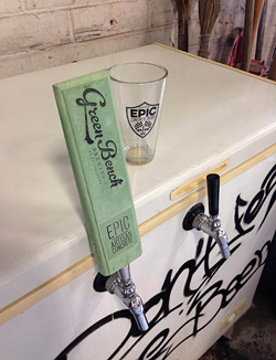 Haywood cast a special tap handle out of concrete in an eye-catching green.