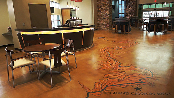 Stained concrete floor with map of Grand Canyon Photos courtesy of Design Concrete