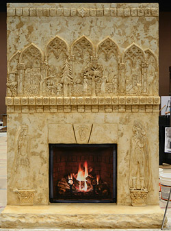 cast and carved concrete fireplace