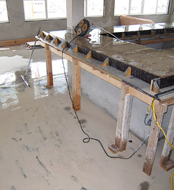 Wet grinding concrete - Wet grinding is messy! Photos courtesy of The Concrete Countertop Institute