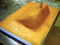 mold for a hand-packed ramp sink - Here's a mold for a hand-packed ramp sink.
