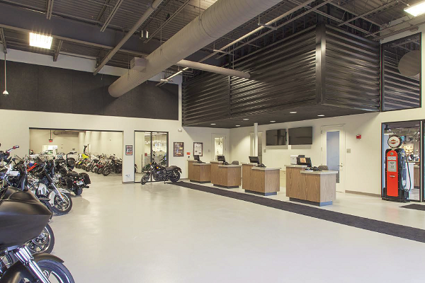An epoxy flooring system was applied to 12,580 square feet of concrete in the dealership's service area.