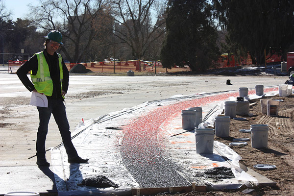 Colorado Hardscapes worked with this artist to make his vision of a concrete rainbow a reality.