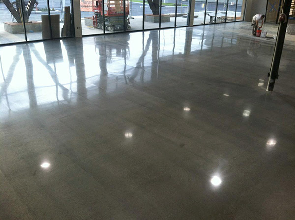 Concrete overlay after polishing
