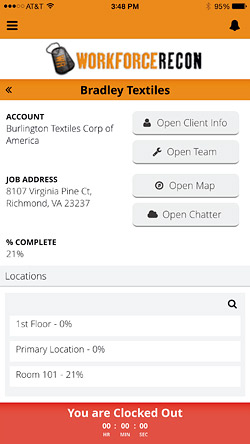 screenshot of Workforce Recon app - Gill doesn't want to have to interrupt his field crew for information he should be able to find himself, so he incorporated some basic tools into his app.