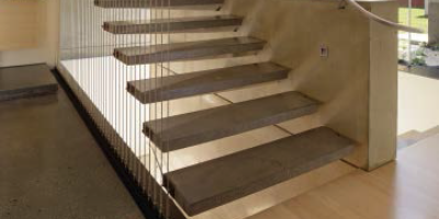 Cantilevered stair treads.