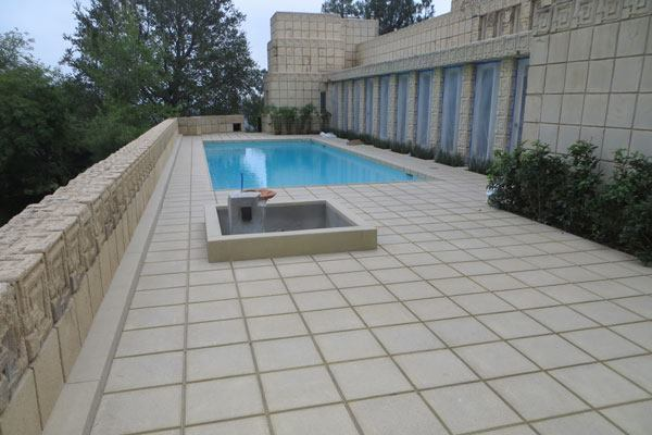 Cast-in-Place Special Finishes, Under 5,000 Square Feet, Second Place: Shaw & Sons Inc., Costa Mesa, California Ennis House pool deck