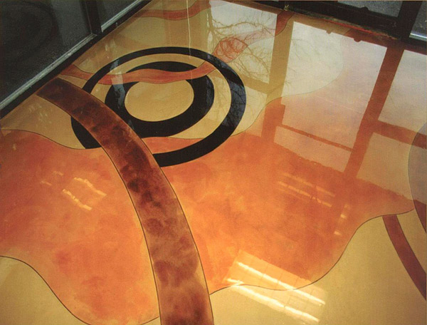 Geometric Stained Concrete Floor - Photo courtesy of Floric Polytech Co.