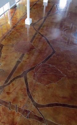 Vines and Flowers Pattern on Stained Concrete Floor