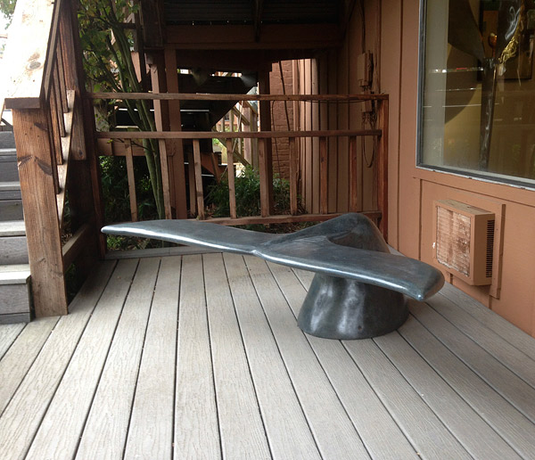 A Concrete Bench in the Shape of a Whale's Tail