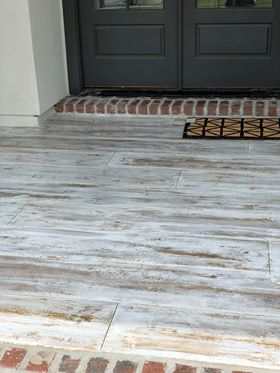Front porch with wood look concrete