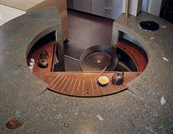 round concrete tea bar
