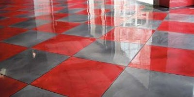 Metallic red and gray tile pattern garage floor coating