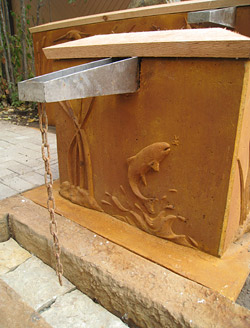 concrete carved water feature