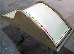 cadeira de concreto com cor