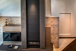 gray fireplace concrete surrounding