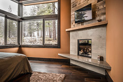 modern industrial concrete fireplace