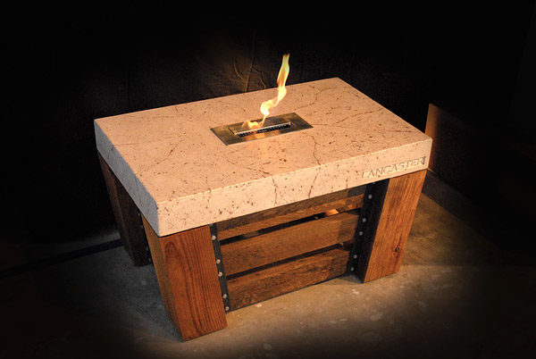 concrete fireplace with wood legs